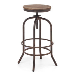 """Tosh Furniture - Ruleville Barstool Distressed Natural - Based on the same mechanisms of drafters chairs in the early 1900's, the Ruleville barstool's adjustable mechanism allows a comfortable height for anyone. The top is solid Elmwood and the base and accents are antique metal. Distressed Natural; Metal; Fir Wood Finish; Some assembly required; Overall dimensions: 153""""W x 15.3""""L x 28.3~34.3""""H; Seat Height: 28.3~34.3""""; Seat Depth: 14""""; Seat Width: 14"""""""
