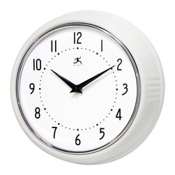 Infinity Instruments, Ltd. - Infinity Instruments Retro Iron Wall Clock, White - Infinity Instruments Retro Wall Clock collection has been a staple in the interior design/wall décor accessories for well over a decade.  It has proven the test of time with a clean retro look that fits most, if not all, home décor layouts. There have been many copy cats but there is only one true  Retro Iron Wall Clock.