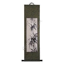 Oriental-Decor - Ancient Bamboo Chinese Scroll Painting - Chinese bamboo is hand-painted on rice paper and then matted on a silk scroll to create this alluring accent piece. Ideal for long, narrow wall spaces, this delicate scroll adds a subtle Oriental splash to your contemporary or eclectic room.
