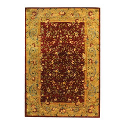 Safavieh - Bergama Red/Brown Area Rug BRG164A - 8' x 10' - The Bergama Collection includes beautiful reproductions which are hand-tufted to create the same symmetrical knots used in the antique rugs in Safavieh's private archival collection of Peshawar rugs. Made in India, the pure wool rugs in this collection recreate the design and quality of Peshawars made for the top end of the market to a broader base of customers with superior hand tufted quality.