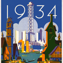 Tour the World at the Fair Chicago - 1934 Print - World's fair - Chicago - 1934 Tour the world at the fair--See fifteen foreign villages poster by Weimer Pursell.And Published inChicago by Neely Printing Company, 1934 at58 x 40 cm.Summary:Poster for the 1933-34 Chicago World's Fair, showing the fairgrounds with Chicago skyline.