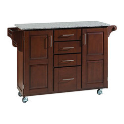Home Styles - Home Styles Furniture Salt and Pepper Granite Kitchen Cart in Cherry - Home Styles - Kitchen Carts - 91001073 - The freedom to conduct food preparation anywhere you wish sums up the entire appeal of the Home Styles Kitchen Cart. Whatever the task entails this cart is more than up to it with a long granite counter top four utensil / storage drawers and two interior cabinets with adjustable shelving. Four wheel casters allow for freedom of movement and feature a locking function for safety. Side mounted spice and towel racks add further practicality while a cherry wood finish provides an inherent warmth.