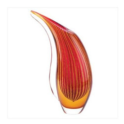 Artisan Glass Collection - Crimson Sunset Art Glass Vase - A sparkling free-form vase celebrates the beauty of an autumn sunset, setting your surroundings alive with vibrant color.  This abstract artwork is lovely alone , but especially stunning when filled with a graceful bouquet.