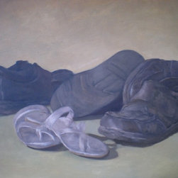 Love Artwork - Still life of shoes. A motley assortment of footwear in disarray. This oil painting captures a domestic moment often overlooked. Painted by John Pacer, this piece will be signed when purchased if the buyer wishes.