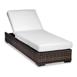Thos. Baker - hampton chaise lounge (java) - New for 2013, our most popular oversized wicker collection is now available in a rich java color weave. Premium, dyed-through resin wicker with an extra large diameter profile and a rich varigated rustic finish. Powder-coated aluminum subframe and brushed aluminum feet.