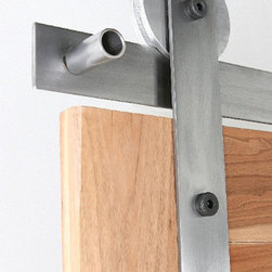 """Rustica Hardware - Ultramodern Barn Door Hardware - This standard Ultra Modern Barn Door Hardware is one of our best selling flat track hardware systems. Picture shown is our 3″ """"Ultra"""" Aluminum Wheel with a clear coat acrylic"""