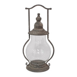 Heather Fields Home & Garden - Rustic Lantern with Glass Hurricane - Fabulous lantern with a glass hurricane inside. Great on any piece of furniture and looks great with 2 on a farm table.