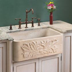 Ivy Polished Marble Farmhouse Sink - This stunning Polished Ivy Apron Farmhouse Sink will lend a rich, down-to-earth elegance to your kitchen with its beautiful polished finish and carved apron front.