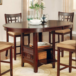 Coaster - Counter Height Table in Dark Cherry - The 42 round pub dining set with storage base with a sunburst veneer top comes with an 18 leaf in a dark cherry finish.