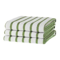 KAF Home - Basketweave Kitchen Towels, Green Set of 2 - A kitchen essential. Our absorbent Favo kitchen towels make drying pots, pans and countertops a breeze. The honeycomb weave is made of machine-washable 100% cotton.