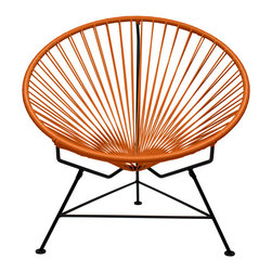 Sunburst Hoop Modern Lounge Chair in Orange - Sit back and melt into this hoop-shaped, sunburst-woven modern lounge chair, complete with UV-resistant vinyl cord for breathability and support and a rust-resistant galvanized steel frame with a semi-textured polyester powder coat. The chair comes with a tripod base, and it's weatherproof and easy to clean. Use this chair inside or outside�ۡ����it will be sure to add a burst of color and circular motion wherever it goes.