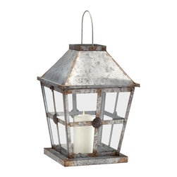 Cyan Designs - Rustic Lantern - Rustic charm meets industrial chic in the Rustic Lantern. This rustic iron lantern will help your mind drift away to a star-filled night on the beach. It makes for a thoughtful addition to a console table or fireplace mantle.  It also makes a charming housewarming present.   Product Details: