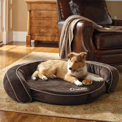 Frontgate - Cool Gel Memory Foam Pet Bed Dog Bed - Cool-gel beads in the cushion whisk away body heat. Memory foam eliminates painful pressure points while offering the best possible support for your dog's joints and muscles. Plush polyfill outer bolster for additional comfort. Removable microsuede velour cover is machine washable. Can be personalized with up to 10 letters. While ordinary cushions can trap too much heat against your dog's body, this unique pet bed whisks away excess heat for a cool, comfortable sleep. Combining the body-conforming comfort of memory foam with innovative cool-gel technology, it delivers superior temperature-control and support where your dog needs it most.  .  .  .  .  . Please note, personalized items are non-returnable.