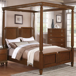 """Coaster - Jayden Canopy Queen Canopy Bed in Light Cherry Finish - Humble styling accented with traditional detail defines the Jayden bedroom collection. Every item features tapered feet, creating a subtle contrast against each piece's straight lines and simple silhouette. Metal drawer pulls on each drawer add polish, while the drawers provide excellent storage for your clothing or bedroom accessories. Grand in size and design, with a light cherry finish for a more inviting appearance, this dramatic canopy bed completes your bedroom with a welcoming and regal nature.; Traditional Style; Light Cherry Finish; Dimensions: 87.50""""L x 63.50""""W x 85""""H"""