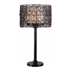 Kenroy Home - Kenroy 32219BRZ Tanglewood Outdoor Table Lamp - Natural looking all-weather rattan entwines itself into a swirling patterned drum encircling a White glass inner shade.