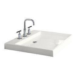 KOHLER - KOHLER K-2314-1-0 Purist Wading Pool Lavatory with Single-Hole Faucet Drilling - KOHLER K-2314-1-0 Purist Wading Pool Lavatory with Single-Hole Faucet Drilling in White