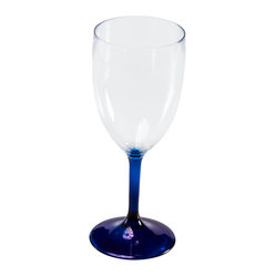 Q Squared NYC - Large Wine Glass Blue Stem - With its seductive colored stem, this wineglass might look like fine crystal. But it's actually made from high-quality acrylic, so it's lightweight, durable and goes right into the dishwasher after use. No more broken glasses to worry about when you entertain. And at this price, you can afford to stock up!