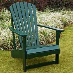 International Concepts Hunter Green Adirondack Chair - Additional features Hunter green polyurethane paint loves the sun; ideal for outdoors Weather-resistant brass and stainless steel hardware won't rust Easily assembles in minutes Nothing makes a cold drink taste better than sitting in this quality International Concepts Hunter Green Adirondack Chair while watching someone else mow the yard. The curved back wide armrests and contoured seat are classically comfortable made of sun-loving poplar hardwood and sanded silky smooth. Generously coated in polyurethane-based paint the best-quality choice for outdoor wood furniture. Assembles easily in minutes with quality rust-resistant brass and stainless steel hardware - all included. Designed to withstand the elements the durable finish cleans easily with a wipe of mild soap and water.