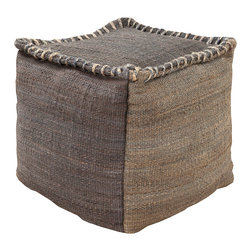 Jute Charcoal Pouf - Achieve a poetically primitive appearance by accenting low furniture with this moveable accent piece, the Jute Charcoal Pouf.  Whether for holding a book, propping up your feet, or offering a place to lean at the end of a wooden bench, this rustic cube has a soft outline with the dimension conferred by visible large-scale stitching.  Slight contrast between top and sides enhances the look.