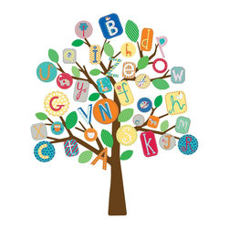 York Wallcoverings - Primary Colors Alphabet Tree Self-Stick Wall Accent Set - Features: