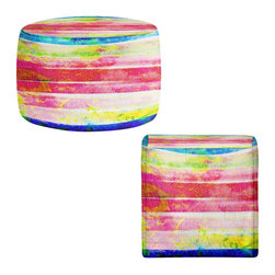 DiaNoche Designs - Ottoman Foot Stool by Iris Lehnhardt - Spotted Stripes - Lightweight, artistic, bean bag style Ottomans. You now have a unique place to rest your legs or tush after a long day, on this firm, artistic furtniture!  Artist print on all sides. Dye Sublimation printing adheres the ink to the material for long life and durability.  Machine Washable on cold.  Product may vary slightly from image.