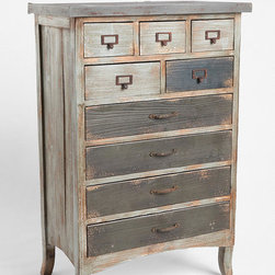 Industrial Storage Cabinet - This large industrial storage cabinet has plenty of storage. We love the weathered-looking wood. It adds a bit of vintage charm.