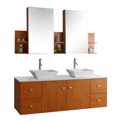 Virtu USA - 61in. Clarissa - Honey Oak - Double Sink Bathroom Vanity - Constructed of a white stone or tempered glass countertop, white ceramic sinks and high quality solid Oak wood in Honey Oak finish. The Clarissa is complete with beautifully designed chrome faucets which truly capture the overall brilliance of modern design. The Clarissa is truly a magnificent vanity piece, uniquely designed with the latest in modern bathroom design in mind. This wall mounted vanity comes with dual oak wood drawers on each side and a middle storage compartment for your convenience.The Clarissa definitely features the latest in contemporary bathroom design.