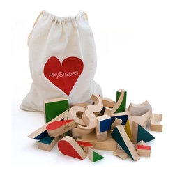 Miller Goodman - PlayShapes - A modular set of 74 geometric wooden shapes which can be endlessly arranged or stacked to produce hundreds of 3D creations. The smooth shapes with ashes of color are pleasingly crafted in rubberwood which can also be used as drawing templates. The set of shapes come in a box along with a printed, unbleached cotton drawstring bag and a set of illustrations.