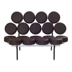 """LexMod - Othello Sofa in Brown - Othello Sofa in Brown - This unconventional sofa brings both fun and modern styling to your home. Featuring a whimsical design of """"floating"""" genuine leather cushions, the Othello Couch is not only astonishing in its appearance, but also surprisingly comfortable. Set Includes: One - Othello Couch Leather Upholstery, Steel Frame, Weight Capacity: 330lbs. Overall Product Dimensions: 53""""L x 31""""W x 33.5""""H Seat Height: 17""""H - Mid Century Modern Furniture."""