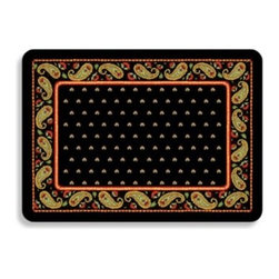 Bungalow Flooring - Bungalow Flooring Black Paisley Premium Kitchen Mat - A non-skid backing makes this pretty rug very useful. It offers plenty of comfort with ample cushioning featuring sponge rubber on the back and woven polyester on the front.