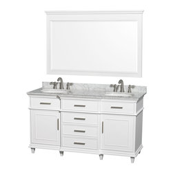 Wyndham Collection - Berkeley Bathroom Vanity in White, White  Carrera Top, White Sinks, Mirror - If your bathroom's asking you for a facelift, the Berkeley is a worthy choice. At once elegant, classic and contemporary, the Berkeley vanity lends an air of sophistication and charm to any bathroom, from a Soho penthouse to a rustic country home. Carefully hand built to last for decades and finished in Dark Chestnut or White, this solid wood vanity has counter options to compete the timeless look.