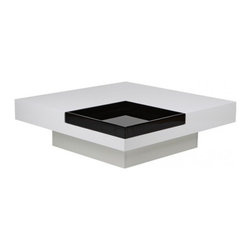 Modern white and black square coffee table with tray Vasto - Coffee table Vasto presents glossy white modern design. The remarkable feature is the square black serving tray inbuilt in the table top. The tray is removable and can be easily used apart from the coffee table.