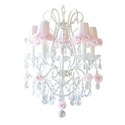 5 Light Chandelier with Pink Rose Shades - This lovely vintage-inspired 5-light chandelier has been painted a beautiful antique white and adorned with gorgeous Dupioni Silk Pink shades, trimmed with sweet Mulberry paper roses.  Fancy-cut Glass Bobeches, plenty of crystal teardrop prisms and layers of crystal chain swags add loads of glam and sparkle! Truly lush and undeniably romantic... This chandelier is simply dreamy.
