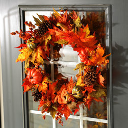 Pumpkin Leaf Wreath - Wreath measures 24 in. in diameter
