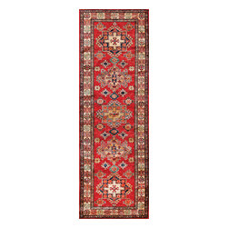 Rugsville - Rugsville  Kazak Red Ivory Wool 16503-267 Rug 2.6x7 - Our Super Kazak collection carries some of the finest pieces weaved in the Orient! These Kazaks are a modern shape