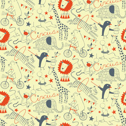 Loboloup - Circus, Mellow Yellow, Roll - Loboloup wallpaper is hand-screened locally in the USA, and printed with eco-friendly, water-based inks on clay-coated paper. Our paper is vinyl-free and class A fire rated.