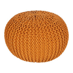 Pumpkin Pouf - Accent your room with sumptuous orange with this chunky knit Pumpkin Pouf. It doubles as a comfy seat for zoning out in front of your favorite TV show, and provides an artful pop of color when you need it most.