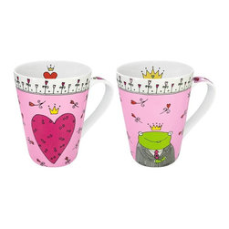 "Konitz - Prince & Princess of My Heart Mugs, Set of 2 - This set of two ""His & Her"" mugs features whimsical hand-drawn designs. The gentleman's mug features a frog prince, while the ladies' mug has a large pink heart. Illustrations on the handle and the interior of the mug."