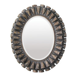 Sterling Industries - Ruffled Oval In Humbolt Finish Mirror - The Ruffled Oval In Humboldt Finish is a great mirror with tons of character.  The frame has a unique layered look made of metal and finished with a distressed look.  This mirror is a beautiful juxtaposition of streamline beveled edge frame and layered thick distressed frame.  A wonderful addition to any environment.