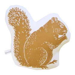 """artgoodies - Squirrel Stuffie Mini Pillow - Each stuffie mini pillow has been hand printed with an original linocut block print by Lisa Price, backed with coordinating vintage fabric, and filled with polyfil. Perfect for play, a gift basket, or hanging out in your home or office! Measures 7"""" tall and 7"""" wide."""