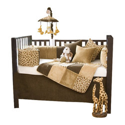 Glenna Jean - Tanzania Crib Bedding Set - The Tanzania Crib Bedding Set by Glenna Jean will take your nursery for a walk on the wild side. The Tanzania Crib Bedding Set features super soft cheetah print combined with chocolate and caramel velvets framed in a honey colored cord to create a soothing space for your little one.