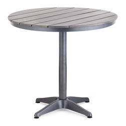 ZUO VIVA - Capital Round Dining Table Gray - The Capital Bar Table has a sturdy epoxy coated aluminum frame and a slatted faux wood top.