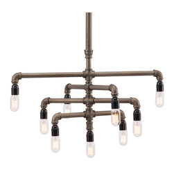 Zuo Modern Contemporary, Inc. - Dragonite Ceiling Lamp Brass - Chandelier for the hipster set, the Dragonite Ceiling Lamp is a commanding presence. Composed of interlocking brass metal tubing tipped with sleek bulbs. Hang over a butcher block kitchen table or over the fluffy white rug of the living room.
