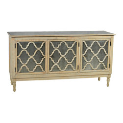 Dunmore Large Sideboard, Light Wood - Amplify your dining room storage potential with the enchanting Dunmore large sideboard. With galvanized sheet metal panels that cover the fronts of the three doors as well as the sideboard top, this piece has a rustic, lightly distressed finish that adds character and charm. Each of the three doors is accentuated with curving wood detail over the sheet metal that lends movement and fluid grace to this large sideboard.