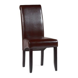 Chintaly Parson Roll Back Side Merlot Dining Chair - Set of 2 - Because dining is supposed to be decadent the Chintaly Parson Roll Back Side Merlot Dining Chair - Set of 2 enhance the taste of your dining space. Complete with a roll back design for added support and designer quality faux leather upholstery for comfort and animal-lover hearts this set is finished in a deep merlot to complement the red or contrast the white.About ChintalyBased in Farmingdale NY Chintaly Imports is an importer of casual dining and leather upholstery. They offer a variety of products from bar stools to curio cabinets and are known for their innovative contemporary designs.