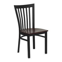 Flash Furniture - Black School House Back Metal Restaurant Chair With Seat - Provide your customers with the ultimate dining experience by offering great food, service and attractive furnishings. This heavy duty commercial metal chair is ideal for Restaurants, Hotels, Bars, Lounges, and in the Home. Whether you are setting up a new facility or in need of a upgrade this attractive chair will complement any environment. This metal chair is lightweight and will make it easy to move around. This easy to clean chair will complement any environment to fill the void in your decor.