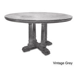 None - Victoria Reclaimed Wood Round Dining Table - This Victoria round table offers a timeless design and is made with premium North American reclaimed wood. The finish applied is an antique white or grey multilayer patina that lets the beauty and natural color of the wood be shown.