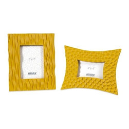 "IMAX - Essentials Yellow Frames - Set of 2 - Part of the Mellow Yellow collection from Essentials by Connie Post, the vibrant color and bold patterns of the Essentials yellow frames are sure to display your favorite photos with pizzazz.  Item Dimensions: (11.5-11.5""h x 9-9.5""w x 1.25-1.5"")"