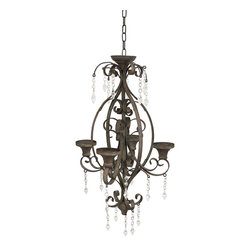 Manual - Hanging Metal Chateau Style Candle Chandelier - This chateau style chandelier adds a charming accent to any room in your home, or even on your porch or patio. Made of metal, with a distressed finish, it measures 45 1/2 inches long and 11 1/2 inches wide. It accommodates 4 pillar candles up to 3 inches in diameter, and has a 17 inch drop from the link chain and hook hanger. An alternative to traditional candles is battery powered LED candles with timers for worry-free accent lighting.