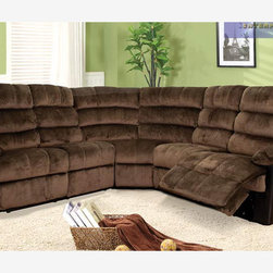 Chocolate Fabric Leather Dual Reclining Sectional Sofa Recliner Corner - Features